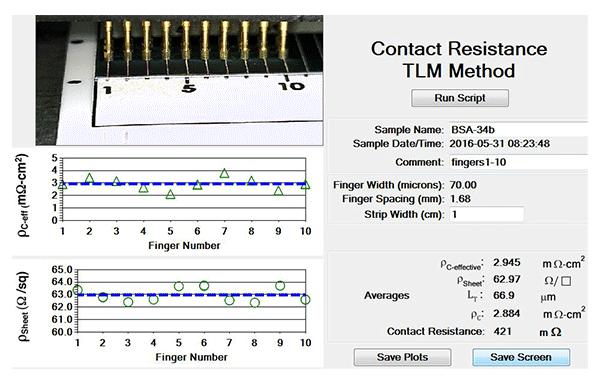 Contact resistance TLM method controls on ContactSpot